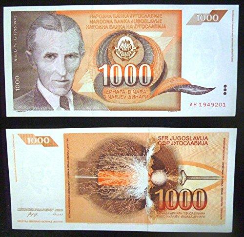 Banknotes National (Nikola Tesla 1000 dinars banknote UNC year 26.XI.1990)