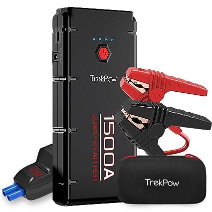 ABOX Trekpow Arrancador de Coche, Jump Starter 12000mAh, 1500A Arrancador de Baterías de coche con USB de 3.0 Puertos de Carga Rápida - para 6.5L de ...