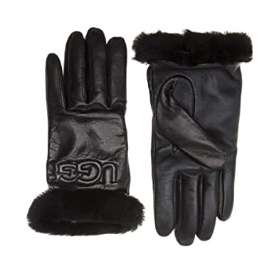 1c723665733989 UGG® Leather Logo Damen Handschuhe Schwarz: Amazon.de: Bekleidung