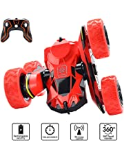 Car Toys for 5-10 Year Old Boys JoyJam RC Stunt Car Off Road RC Cars for Kids and Adults 2.4Ghz Remote Control Truck High Speed Racing Car for Girls 360 Degree Rolling Rotation Christmas Birthday Gifts CA-NBC-Red