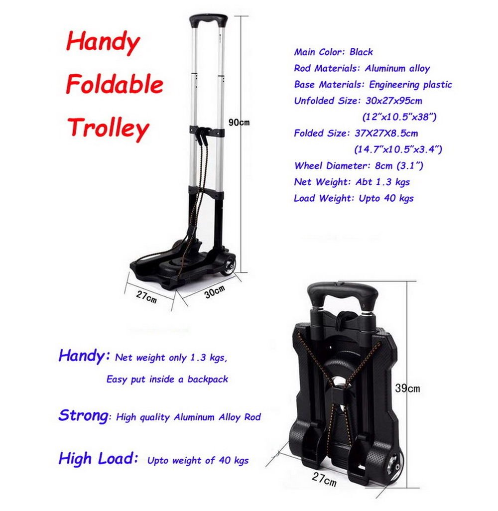 Portable Folding Hand Truck Dolly Utility Cart Foldable Trolley put in Backpack Push Luggage Flatbed Cart by nice--buy (Image #4)