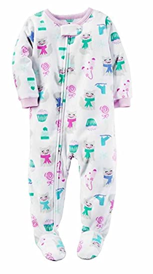 Carters Girls 1 Piece Footed Sleeper Blanket Zip Up Soft Fleece Sleepwear  Pajama (4T c9f22380c