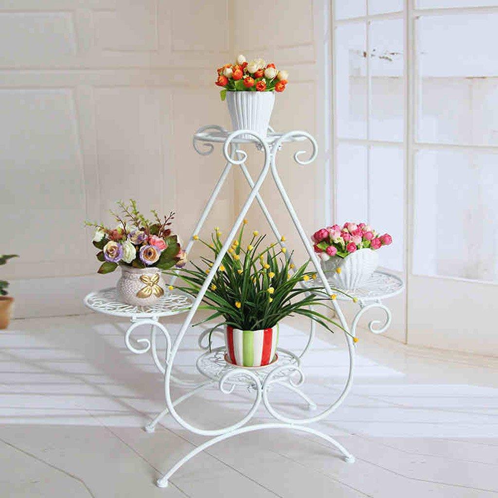 CJH Europäisch-Art Blumen-Schmiedeeisen-mehrstöckiges Innenwohnzimmer-Blumen-Rattan-Grün-Rettich-Balkon-Blumen-Topf-Regal (Color : White)