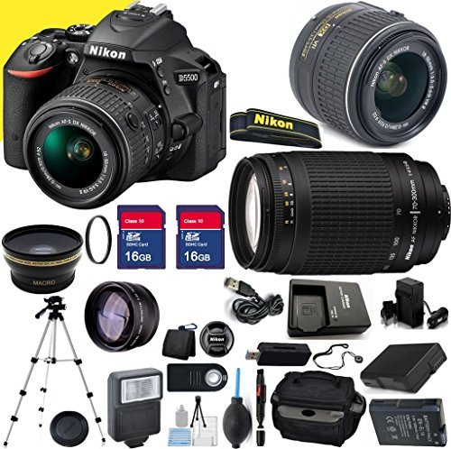 Nikon D5500 24.2MP 3.2-Inch Camera with 18-55mm VR II Lens, 70-300mm G Lens and Accessories