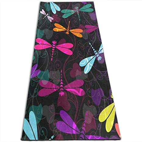 Amazon.com : Damask Flower Dragonfly Yoga Mat-All-Purpose ...