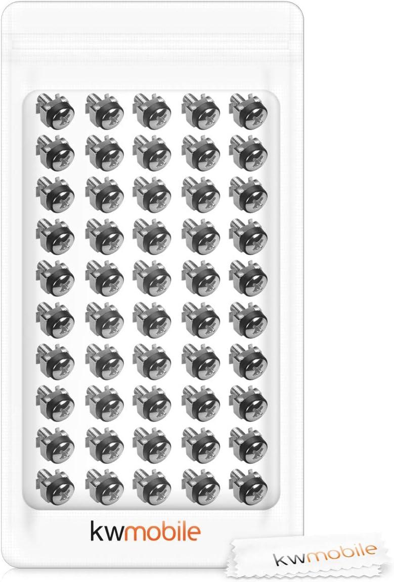 mit Muttern Schrauben Unterlegscheiben f/ür 10 19 Rack Netzwerkschrank K/äfigmutter Set Schwarz kwmobile 50x M6 K/äfigmuttern aus Stahl