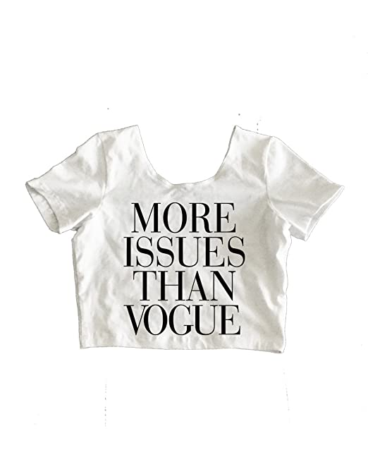 3eb3c5c0e90a2 RexLambo Women s More Issues Than Vogue Black Couture Typography Print Crop  Top S white