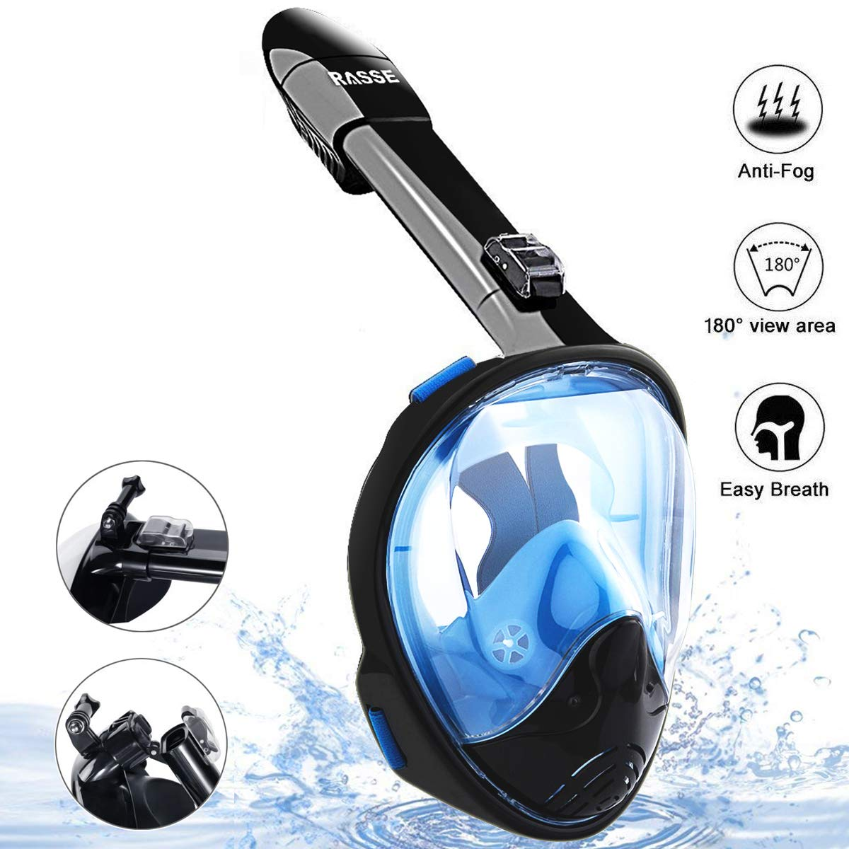 Spruce Full Face Snorkel Mask, Foldable Snorkeling Mask 180°Compatible Panoramic View with Detachable Camera Mount, Anti-Fog Anti-Leak Diving Mask with Adjustable Head Strap for Adults Youth Kids