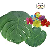 """60 Pcs Tropical Party Decoration Supplies13 and 8"""" Tropical Palm Leaves and Hibiscus Flowers, Simulation Leaf for Hawaiian Luau Party Jungle Beach Theme Table(HibiscusTropicalLeaf,60pcs)"""