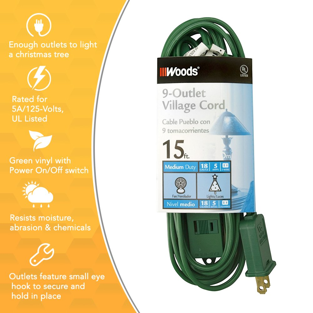 Woods Extension Cord For Christmas Or Holiday Lights With 9 Outlets