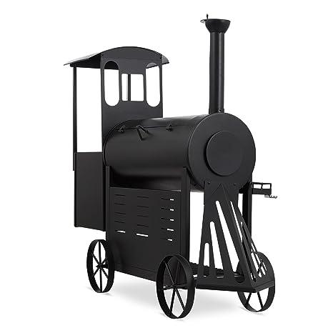 KLARSTEIN Dampflok Parrilla Ahumador - Diseño Locomotora Vapor, Gran Parrilla Principal con termostato, Chapa Acero 3 mm, Resistente Intemperie, ...