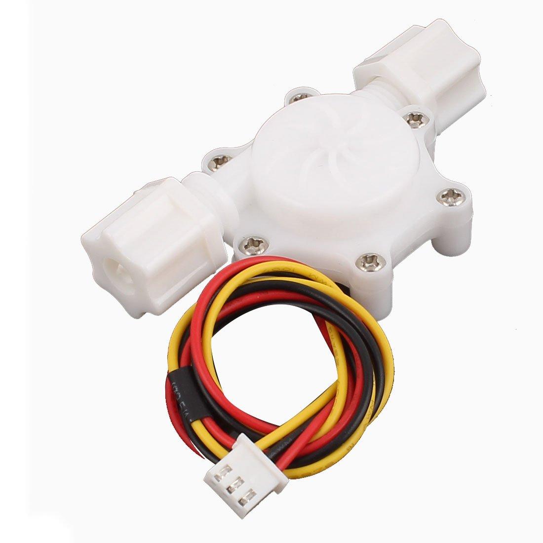 Uxcell SEN-HZ06W Plastic G1/4 Male Thread Water Flow Sensor Flowmeter, 0.15-1.5L/minute