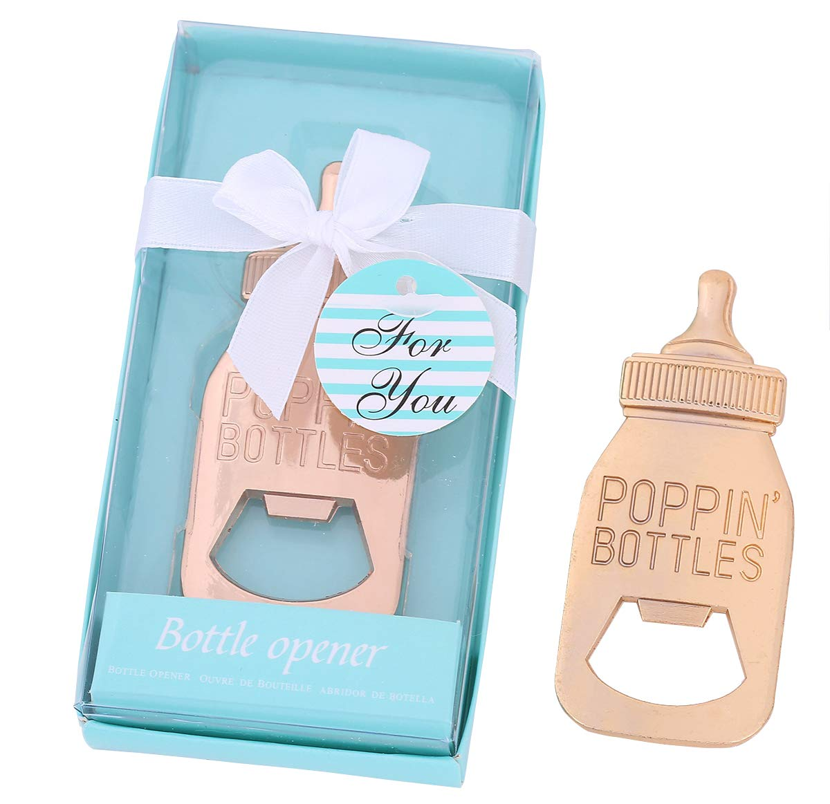 Baby Shower Return Gifts for Guest Supplies Poppin Baby Bottle Shaped Bottle Opener with Exquisite packaging For Guests Party Souvenirs decorations 12pcs by WeddParty (Baby Bottle)