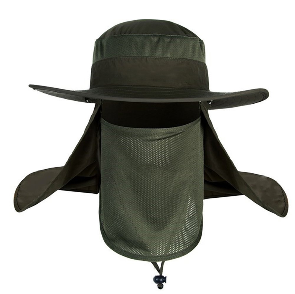 Mens Outdoor Legionnaire Hat Camping Fishing Hunting Fully Sun Protection  Hat Cap with Flap Neck Protector Detachable Mesh Mouth Mask UPF 50+ Anti-UV