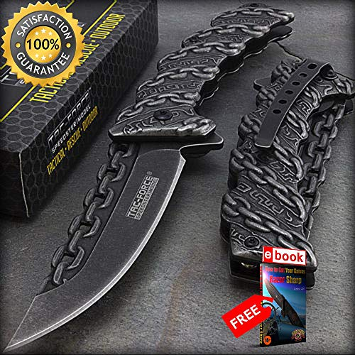 - 8.25'' TAC FORCE CHAIN LINK STONEWASH SPRING ASSISTED FOLDING POCKET KNIFE Combat Tactical Knife + eBOOK by Moon Knives