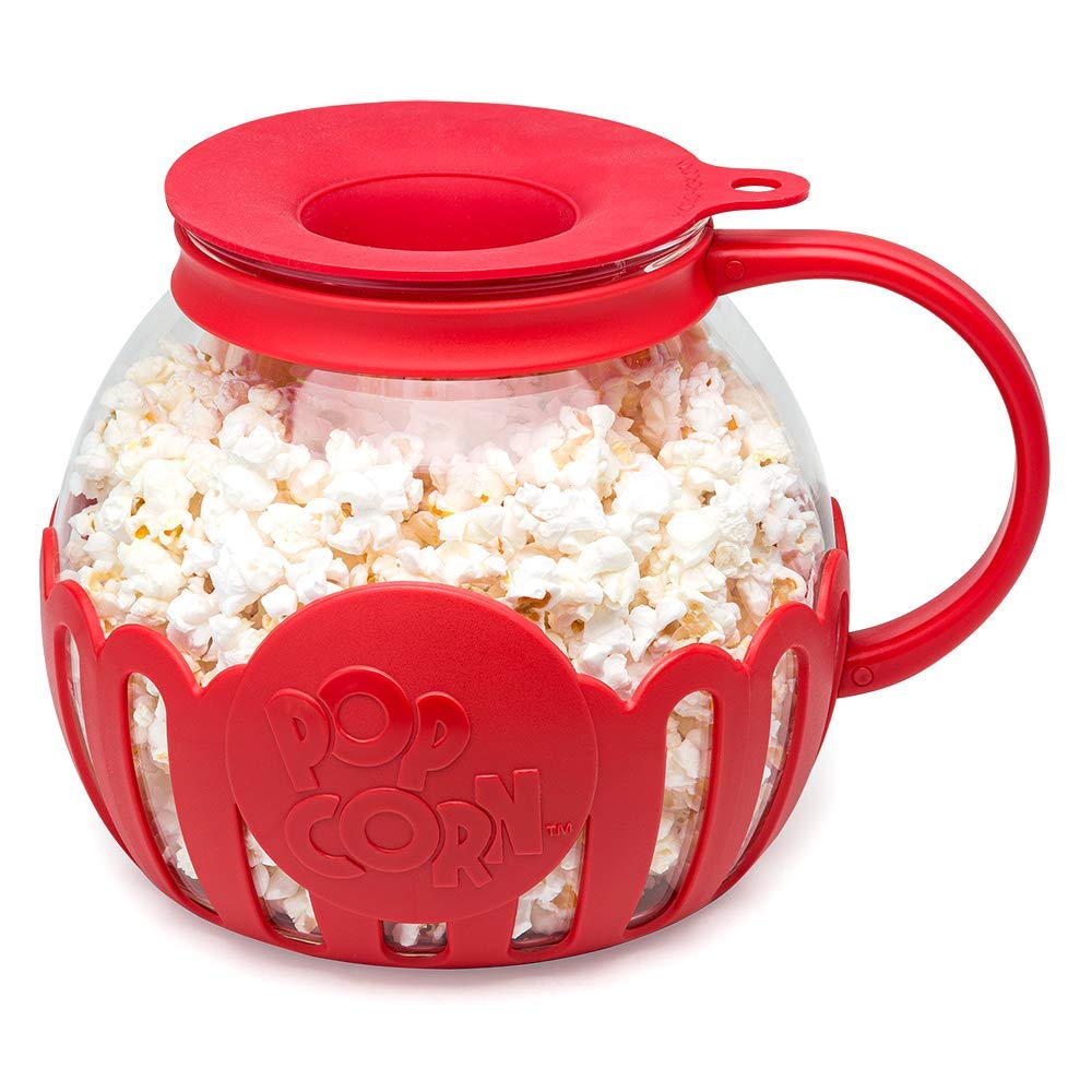 Ecolution EKPRE-4230 Original Microwave Micro-Pop Popcorn Popper Borosilicate Glass, 3-in-1 Silicone Lid, Dishwasher Safe, BPA Free, 3 Qt - Family Size, Red by Ecolution