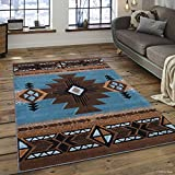 Allstar 5 X 7 Blue with Brown Woven Native American Runner Area Rug (5′ 2″ X 7′ 2″)