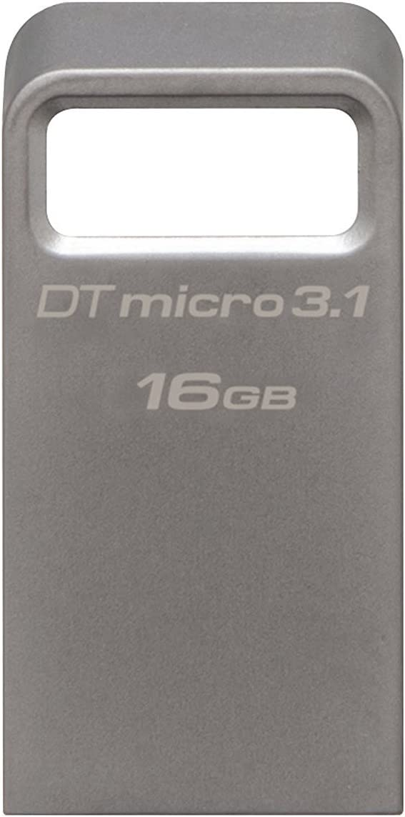 Kingston DataTraveler Micro 3.1 16GB USB 3.0 Compatible Hi-Speed up to 100MB/s Ultra-small Metal Case Flash Drive(DTMC3/16GB) - Silver
