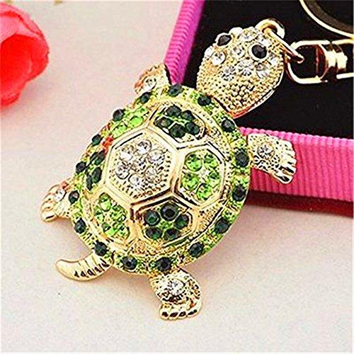 JewelBeauty Rhinestone Crystal Tortoise Turtle Keychains Handbag Key Holder Keyring for Car Purse Bag Charm Pendant (Green II)