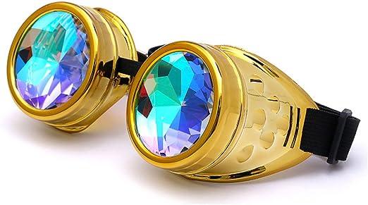 FIRSTLIKE Rainbow Kaleidoscope Goggles Victoria Clothing Steam Punk Accessories Laser