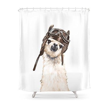 Society6 Pilot Llama Shower Curtain 71quot