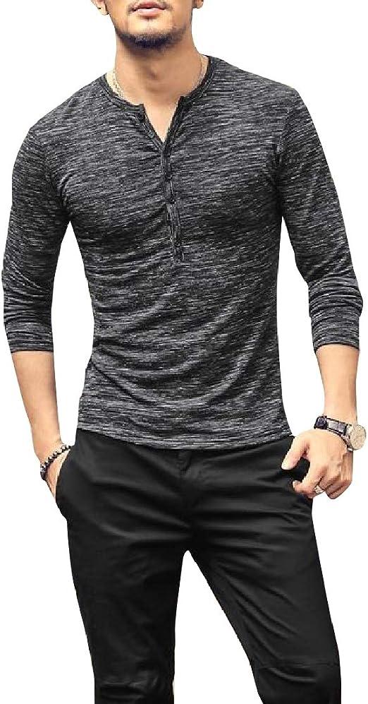 Wofupowga Mens Linen Casual Slim Contrast Color Long-Sleeve Shirts