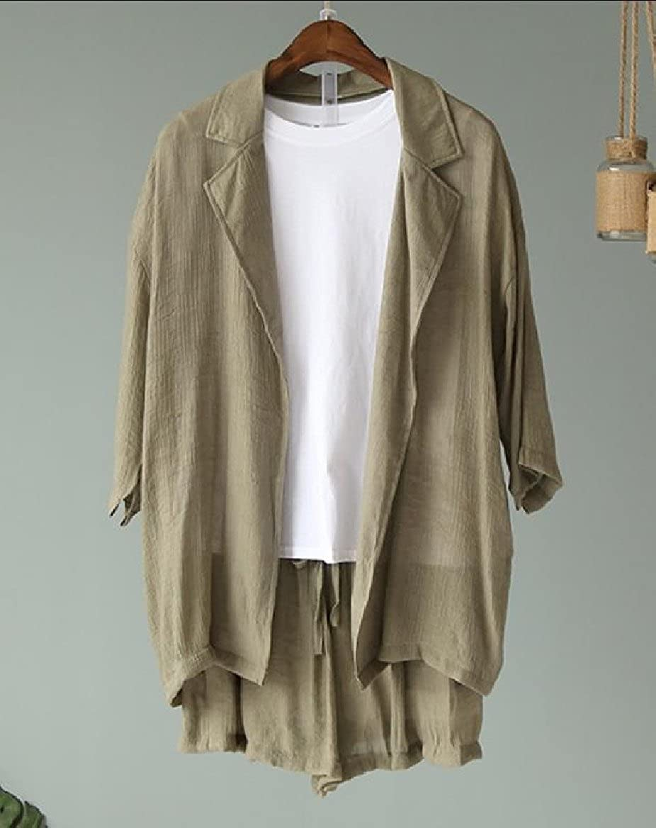 Tootless-Women Solid-Colored Turn Down Collar Cardi Jacket Suit Short Pants