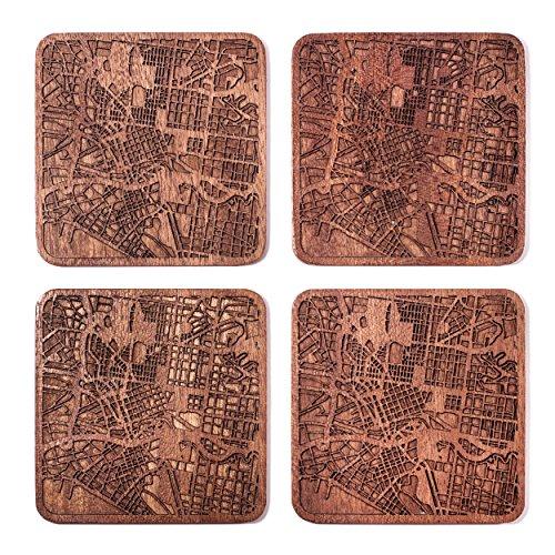 Melbourne Map Coaster by O3 Design Studio, Set Of 4, Sapele Wooden Coaster With City Map, - Australian Design Map