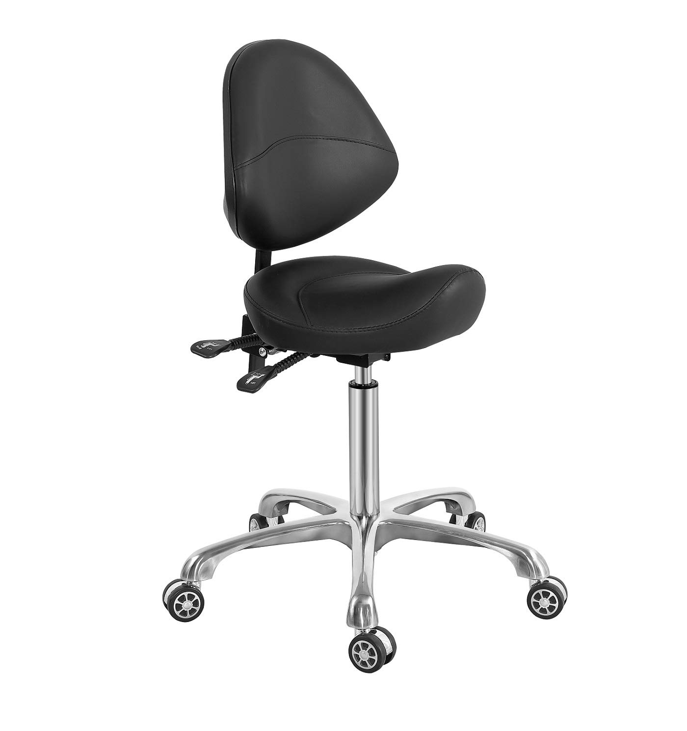 Saddle Stool Chair with Back Support, Heavy-Duty(350LBS), Hydraulic Rolling Swivel Adjustable Stool Chair for Salon Spa Beauty Massage Dental Clinic Home Office Use(Black)