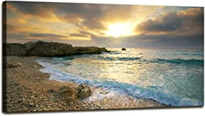 Canvas Wall Art Sunset Beach Blue Waves Ocean Art Large Modern Artwork Canvas Prints Contemporary Pictures Framed Ready to Hang for Home Decoration