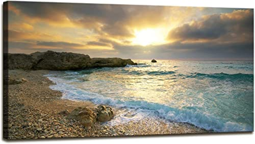 Canvas Wall Art Sunset Beach Blue Waves Ocean Art Large Modern Artwork Canvas Prints Contemporary Pictures Framed Ready to Hang