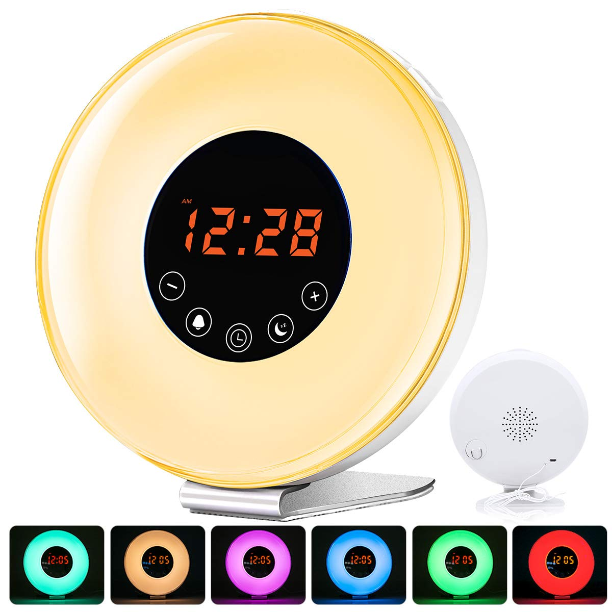 Wake Up Light, myfree Nature Light Sunrise Simulation Alarm Clock Touch Control Night Light for Bedrooms, Snooze Function Wake-Up Light with USB Charger FM Radio for Heavy Sleepers (6639)