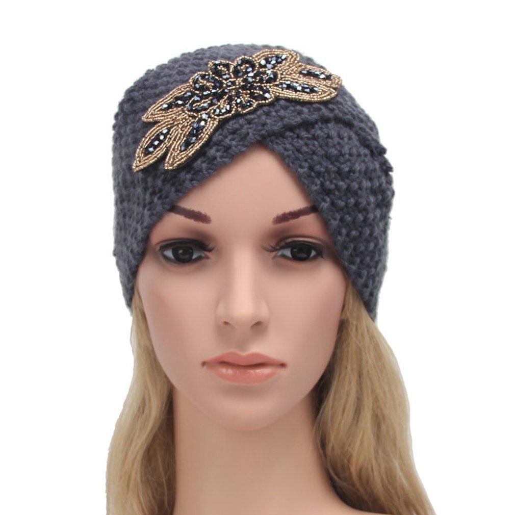 Gemvie Women Winter Warm Knit Crochet Beanie Ski Hat Turban Headdress Cap Grey at Amazon Womens Clothing store: