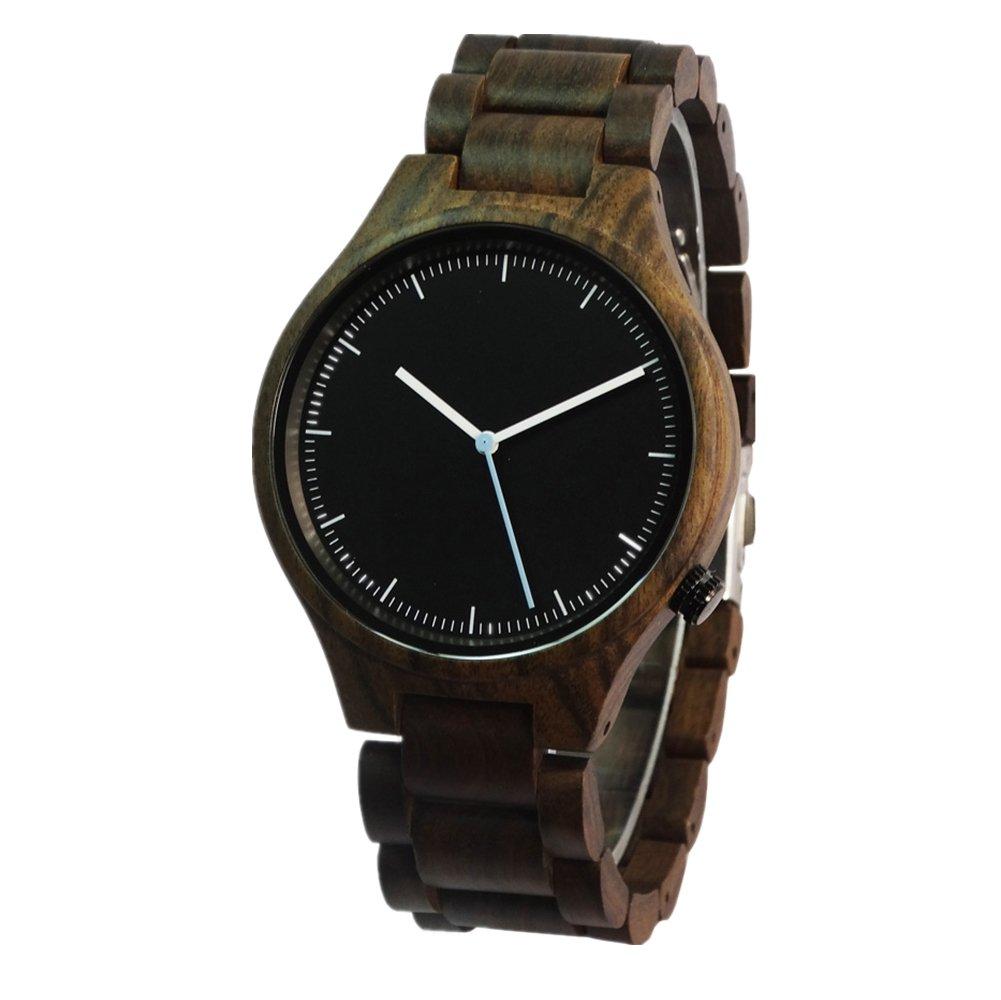 Wood Handmade Vintage Quartz Watch,Natural Wooden Wrist Watch (black)