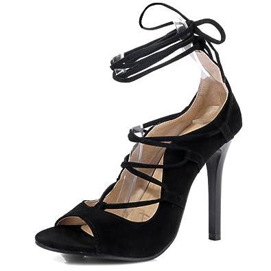 f3b7ef08599f Easemax Women s Sexy Faux Suede High Stiletto Heel Peep Toe Self Tie Ankle  Wrap Sandals Black