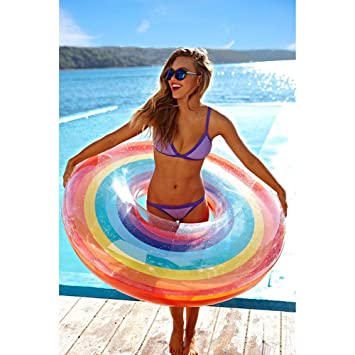 FBEST Rueda Hinchable Donut de Arco Iris 120 cm: Amazon.es ...