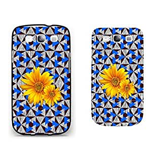 Cool Yellow Sunflowers on Blue Triangles Pattern Print Hard Plastic Phone Case Cover for Samsung Galaxy S3 I9300 (black)