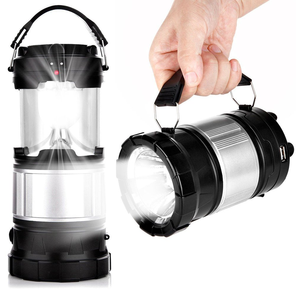 quanjucheer Outdoor Camping-Laterne, tragbar, solarbetrieben, LED-Lampe, aufladbar Schwarz 3.39 x 5.12