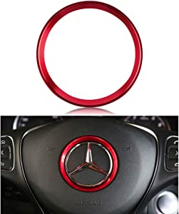 LECART Red Car Steering Wheel Logo Trim Ring Aluminum Alloy Steering Wheel Accessories Car Interior Decors Compatible for Mercedes-Benz C-Class E-Class GLA CLA GLC GLE (inner ring size 2.3 inches)