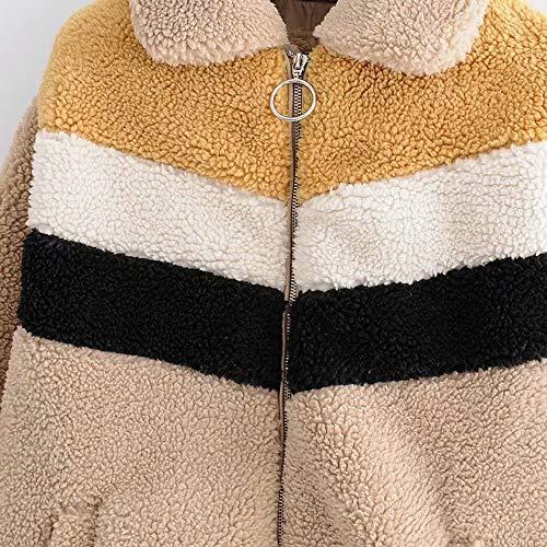 Dgfhr Chaqueta Invierno Bloque Otoño Mujer De Raya Fleece Caliente Abrigo Color Suave 4Orx4qan