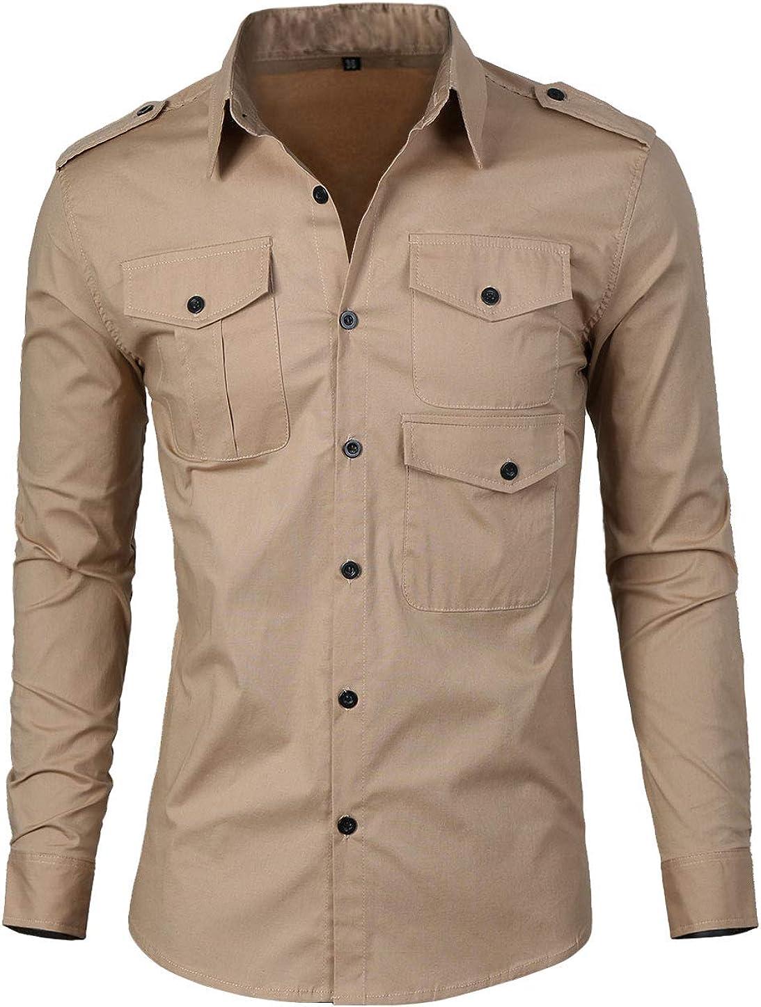 uxcell Camisa para Hombre Elegante diseño Hombrera Botón-Lengueta Ajustado - Caqui/M (US 38), M (EU 48): Amazon.es: Ropa y accesorios