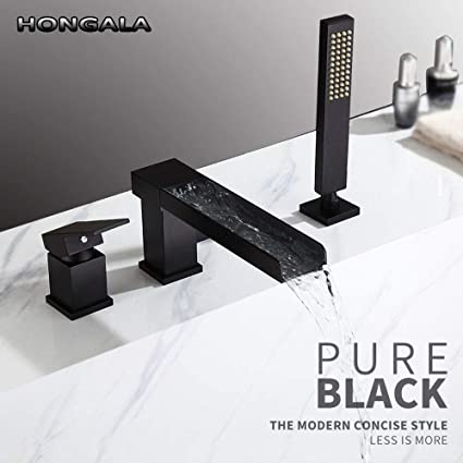 Roman Tub Faucet With Hand Shower 3 Hole.Hongala Contemporary 3 Hole Waterfall Bathtub Faucet Bathroom Roman Tub Filler With Handheld Shower Black