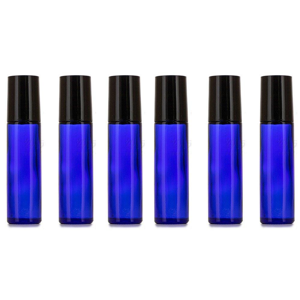 6pcs Bottiglia di Vetro, Con la sfera del rullo dell'acciaio inossidabile, per olio essenziale di Mavogel, 10ml, Bottiglie a rulli in vetro per oli Aromaterapia, Bottiglie blu e copertina nera