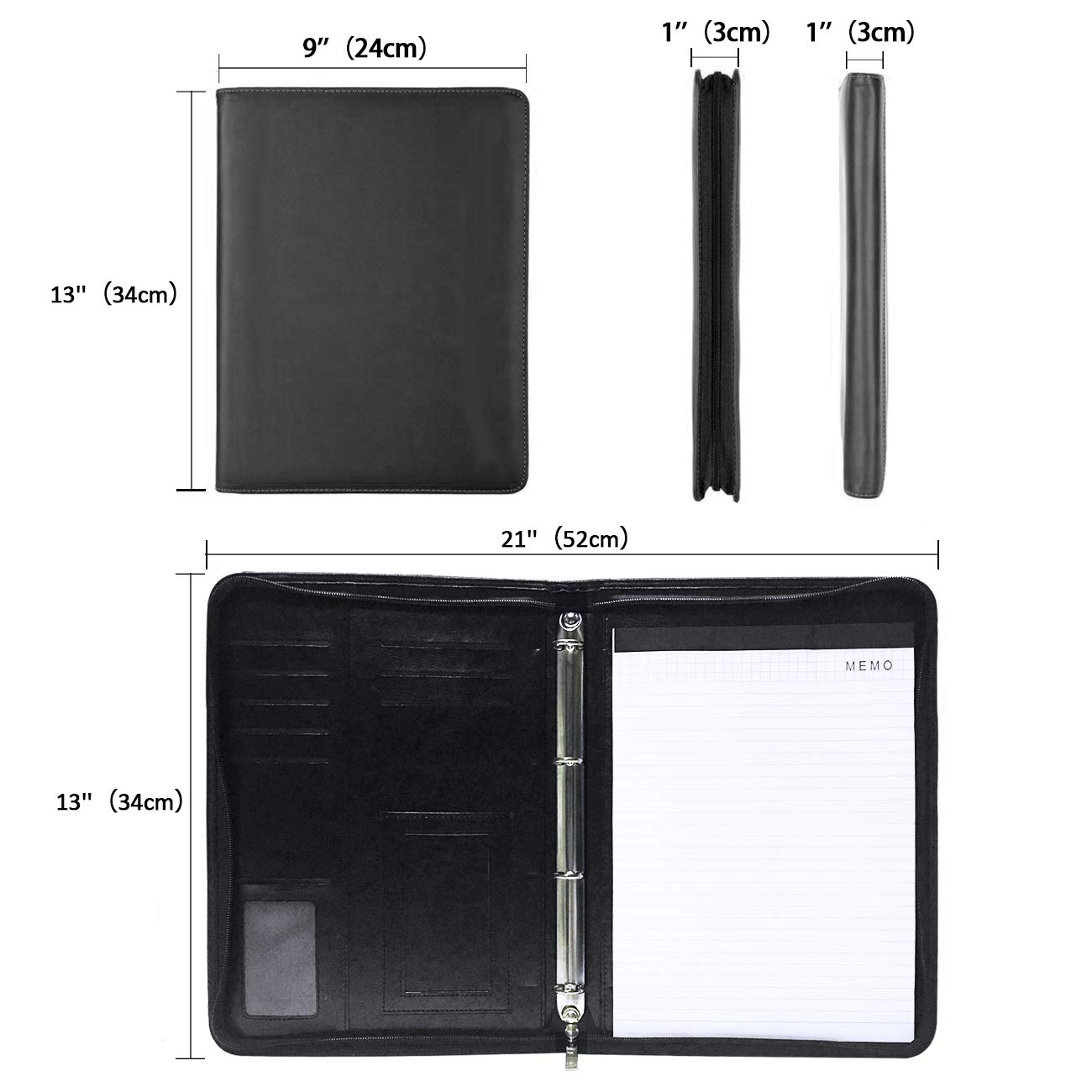 padfolio resume portfolio folder with a4 size writing pad business card holder and 4 ring