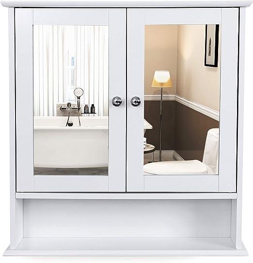 VASAGLE Armoire Murale Salle de Bain, Placard de Rangement Toilettes, avec  2 Portes et Miroirs, 3 Niveaux, Étagères à Hauteur Réglable, 56 x 13 x 58  ...