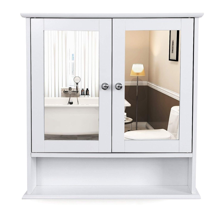 Vasagle Bathroom Wall Cabinet Storage Cupboard Wall Mounted Storage Unitwoodenwith Double Mirrored Doors Adjustable Height Rack 56 X 13 X 58 Cm W X D