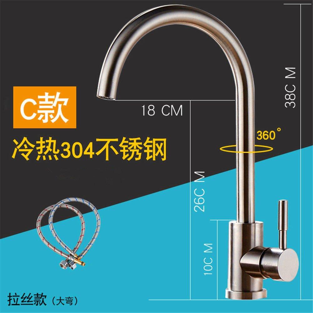 MMYNL Küchenarmatur Armatur Küche Wasserhahn Kalt Warm Alle Kupfer Erkältung Edelstahl Waschbecken  Spültischarmatur