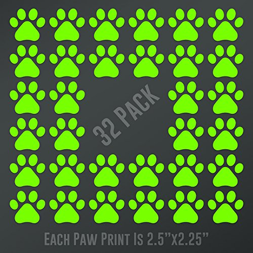 DD898LG Dog Paw Prints 32-Pack | Each paw 2.5-Inches By 2.25-Inches | Premium Quality Lime Green Vinyl