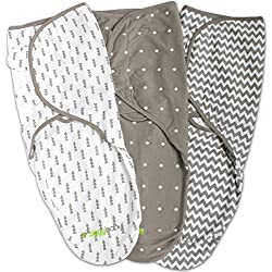 Swaddle Blanket, Adjustable Infant Baby Wrap Set by Ziggy Baby, 3-Pack