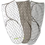 Swaddle Blanket, Adjustable Infant Baby Wrap Set by Ziggy Baby, 3 Pack Soft Cotton in Grey: more info